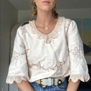 Victorian Style Cream Lace Top